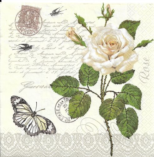 4 Paper Napkins Vintage Rose Twig with Butterfly