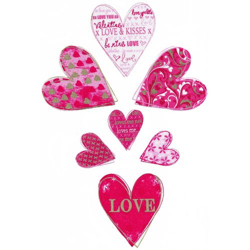 7 Iron-on patch Valentines Hearts