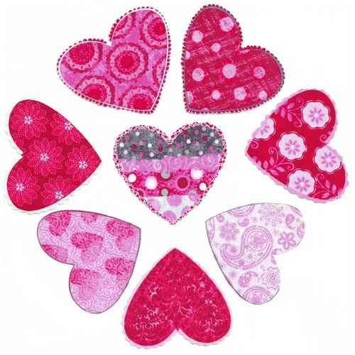 8 Iron-on patch Valentines Hearts