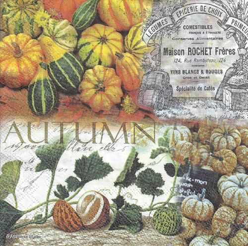 4 Paper Napkins Autumn Pumpkins