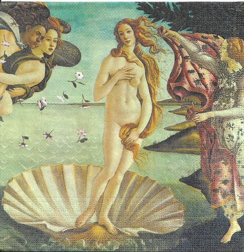 2 Paper Napkins Birth of Venus