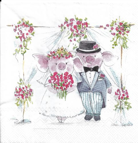 4 Paper Napkins Piggy Wedding