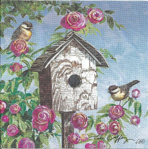 4 Paper Napkins Lovely Birdhouse