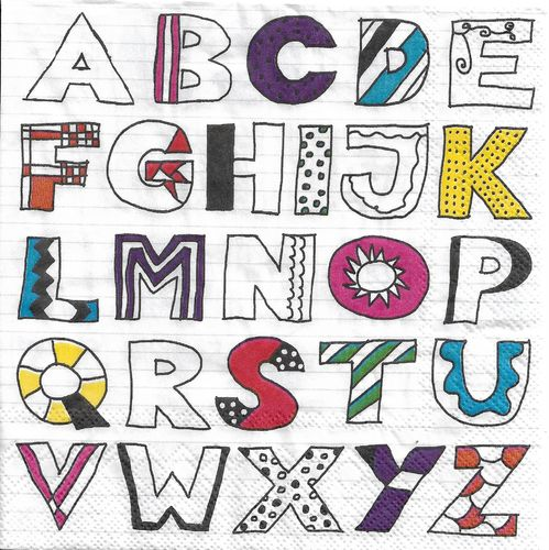 4 Serviettes papier Alphabet ABC
