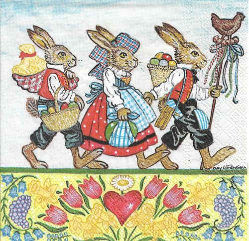 4 Paper Napkins Three Rabbits