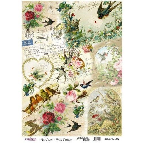 Rice Paper 29,5x41 cm Vintage Swallow