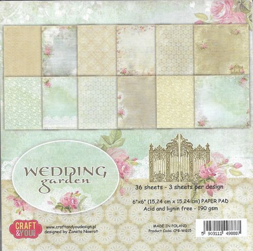 Paper Pad 15,24x15,24 cm Wedding Garden
