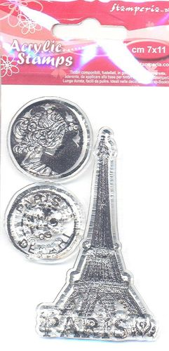 3 Acrylic Stamps Paris
