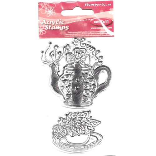 2 Acrylic Stamps Tea Time