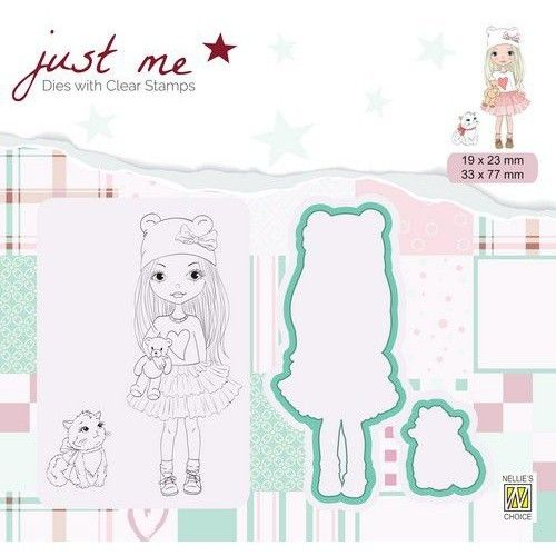 Dies with Clear Stamps Girl & cat