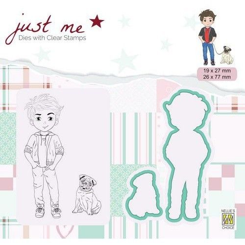 Dies with Clear Stamps Boy & Pug