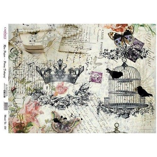 Rice Paper 29,5x41 cm Bird cage Crown