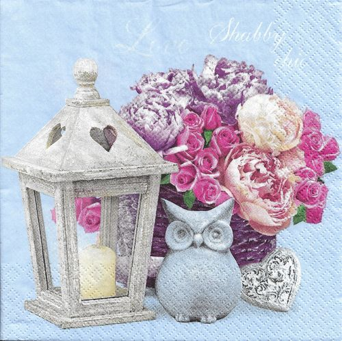 2 Paper Napkins Shabby Chic with Lantern