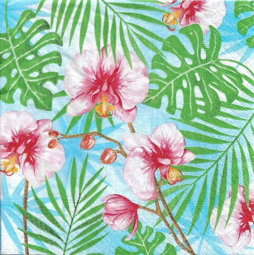 4 Paper Napkins Tropical plants