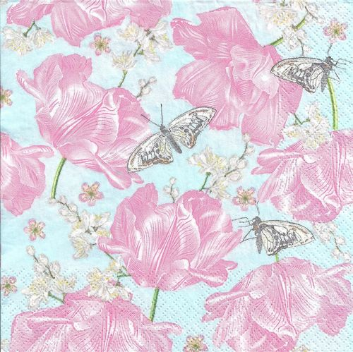 4 Paper Napkins Pink Tulips with Butterflies