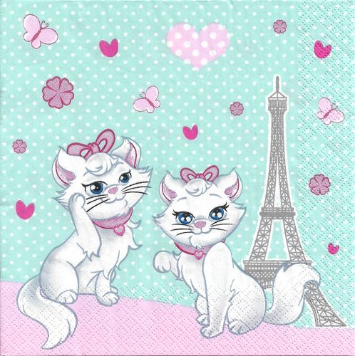 4 Paper Napkins Chic Kitties in Paris