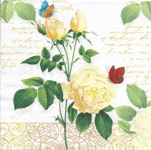 4 Paper Napkins Rose Lace