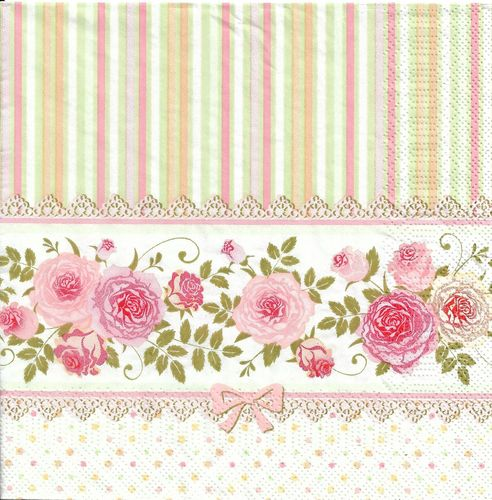 4 Paper Napkins English Roses and Stripes