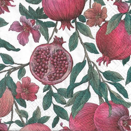 4 Paper Napkins Pomegranate