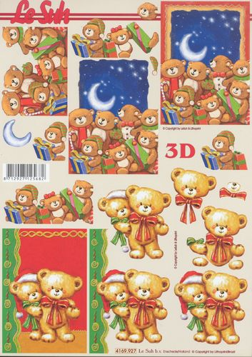 3D Decoupage Christmas Teddy
