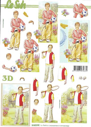 3D Decoupage Sheet Boy Sport