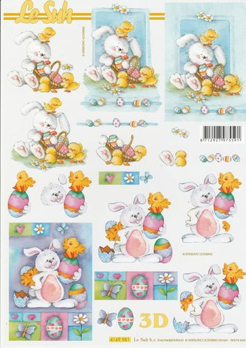 3D Decoupage Sheet Easter Rabbit