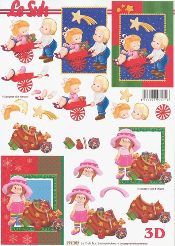 3D Decoupage Sheet Christmas Children