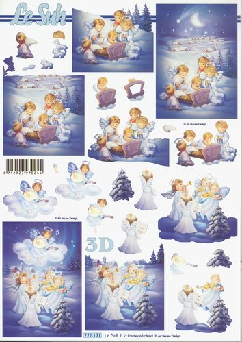 3D Decoupage Sheet Christmas Angels