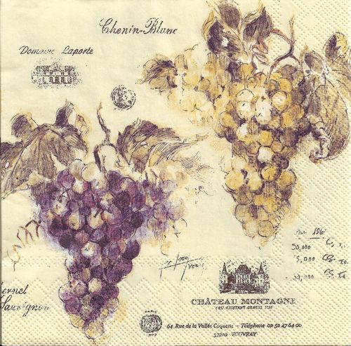 4 Serviettes papier Vin de France Raisin